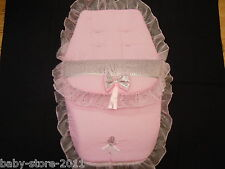 BEAUTIFUL. PRAM  COSYTOES / FOOTMUFF  ROMANY  STYLE. BLING COLOUR. PINK /SILVER