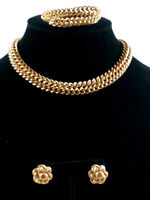VINTAGE SIGNED BERGE GOLD/COPPER TONE NECKLACE W/ MATCHING BRACELET& EARRINGS