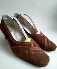 PEDICONFORT DAXON WOMENS BROWN SMOOTH SUEDE LEATHER COURT SHOES SIZE UK 6 EUR 39
