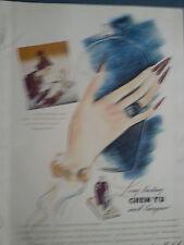 1942 Chen Yu Royal Plum Fingernail Long Nail Lacquer Polish Original Ad