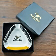 COHIBA Cigar Ashtray 3 Cigars Ashtray Home Ceramic Tobacco Holder W/ Gift BOX