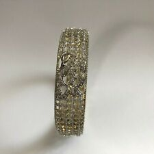 GOLD BANGLES BRACELET COSTUME JEWELLERY AMERICAN DIAMOND CRYSTAL INDIAN NEW 2.6