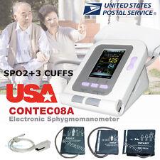 USA Digital Blood Pressure Monitor,CONTEC08A Color LCD Display 3 cuff+spo2 probe