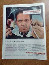 1948  Chrysler Ad Imagination Demonstrating Smoothness of Superfinish
