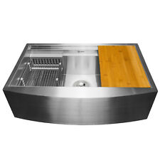 "33"" x 20"" x 9"" Apron Farmhouse Handmade Stainless Steel Single Bowl Kitchen Sink"