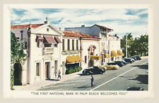 First National Bank Palm Beach Florida Advertising Postcard