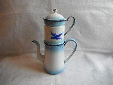 Art populaire ancienne Cafetière émaillée bleue à décor d'un oiseau JAPY ?