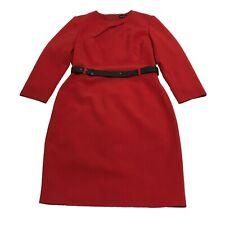 Karen Millen Forever Cut Out Solid Red Crepe Belted Career Professional Dress 10