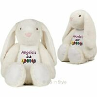 PERSONALISED 1st EASTER GIFT EMBROIDERED EASTER BUNNY PLUSH TEDDY BABY GIFT