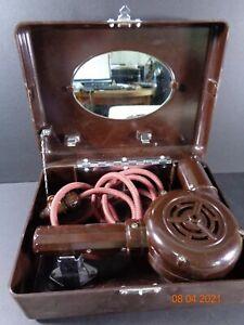 XCEL 3077 Vintage Brown Bakerlite Hairdryer & Case Lamp Light Fitting Plug RARE