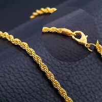 6MM 20'' 18K Gold Plated Twisted Wrest Rope Chain Necklace Mens Punk Jewelry