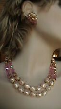 VENDOME 2 STRAND PINK CRYSTAL& PEARL NECKLACE W/EARRINGS