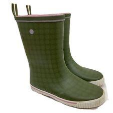 Womens Tretorn Wings Rainboot Mid Calf Polka Dots Olive Green Size 9