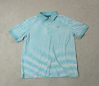 Masters Polo Shirt Adult Large Blue White Striped Augusta National Golfer Mens