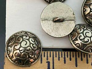 "Buttons #166 Swirls Shiny Italian Silver Tone Dome 3/4"" - 19mm Leaf 6pcs"
