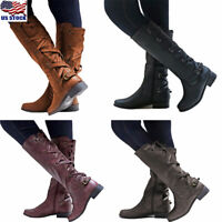 US Women Lace Up Zip Boots Knee High Mid Calf Block Heel Riding Shoes Size 5-8.5