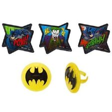 BATMAN JOCKER POW CUPCAKE RINGS TOPPERS (24 Pack) PARTY FAVORS NEW