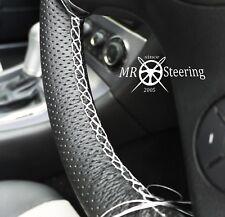 VOLANTE in Pelle Perforata Copertura Per Mercedes CLK 03+ bianca doppia cucitura