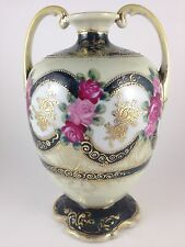 1920's NIPPON HAND PAINTED PINK RED ROSES FOOTED BEADED URN SIGNED