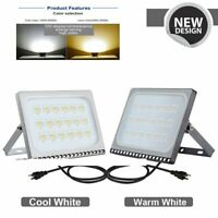 10-100W US Plug LED Flood Light Outdoor Indoor Lamp Garden Cool/Warm White New