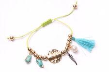 Boho Style Lime green String Skinny Bracelet w Blue Stones,Tassel&Beads (T423)