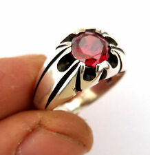 Turkish 925 S. Silver Garnet Stone Men's Ring Sz 9.5 us #0387 free resize