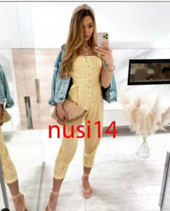 NWT ZARA WOMAN GINGHAM JUMPSUIT STRAPPY yellow MUSTARD FIT sizes XS S M 1971/082