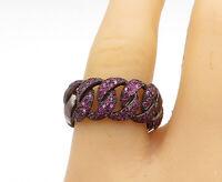 925 Sterling Silver - Vintage Pink Topaz Dark Tone Link Band Ring Sz 9 - R16162