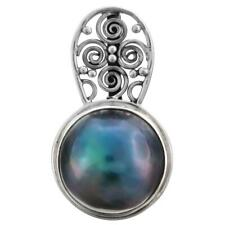 """1 3/4"""" 15MM BLUE MABE PEARL 925 STERLING SILVER pendant"""