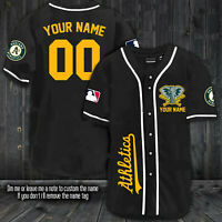 [ Custome Name ] Oakland Athletics Baseball Jersey Black For Fanmade S-3XL