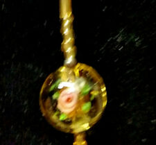 New Handmade w/ Glass flower & gold tone beads 33 inch necklace
