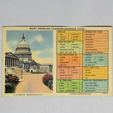 Washington DC Busy Persons Correspondence Vintage Linen Postcard Unposted