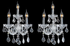 "Pair Set of 2 Maria Theresa 3 Light Crystal Wall Sconce Light 12"" x 22"" LARGE"