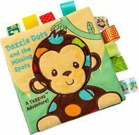 Taggies DAZZLE DOTS SOFT BOOK Crinkle Squeaker Ribbon Baby/Child BN