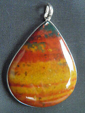 Red jasper with bloodstone teardrop 925 silver pendant(424)