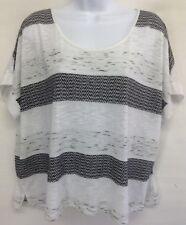 Old Navy Women's Top Blouse Black White Stripe Short Sleeve Classic Neck Size L
