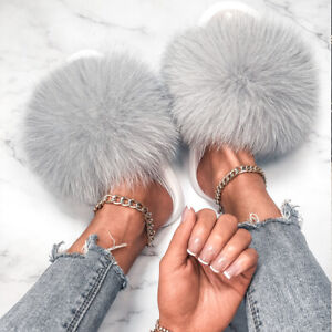 Pantoufles en fourrure de renard Tongs Décontracté Pour Femmes Maison Mode 2021