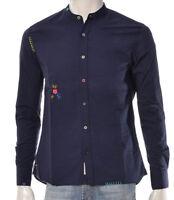 Camicia Uomo Bob Company Korea415 Cotone Ricamata Colletto Coreano Blu Nuova