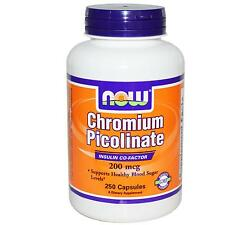 NOW FOODS - CHROMIUM PICOLINATE - 200mcg x 250 CAPS - BLOOD SUGAR SUPPORT