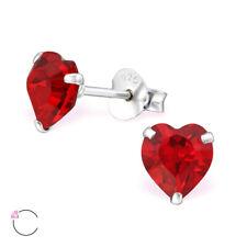 E1772 Heart Crystal From Swarovski Sterling Silver Kids Women Stud Earrings