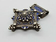 Handmade African Berber Enamel Fibula Silver Pendant Ethnic Necklace Jewelry