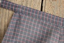 Apron Vintage French blue & red plaid cotton fabric with pocket circa 1920