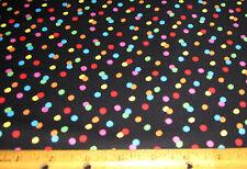1 yard of PEANUTS COLORFUL POLKA DOTS on BLACK 100% Cotton Fabric