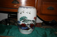 Large Chinese Japanese Pottery Vase Painted Village Huts Trees Symbols Present
