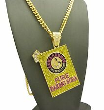 """Hip Hop Iced Out CZ Pure Baking Soda Pendant w/ 6mm 30"""" Box Cuban Chain Necklace"""