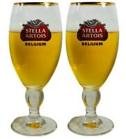 Stella Artois 40CL Gold Rimmed Belgium Beer Glass Chalice (Set of 2 Glasses)