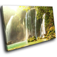 SC329 Green Water Fall Nature Landscape Canvas Wall Art Large Picture Prints