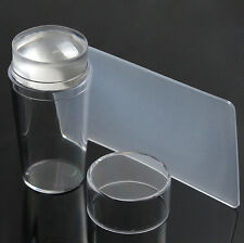 Clear Nail Art Stamping DIY Transfer Plate Manicure Tool Kit Stamper & Scraper