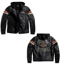 JACKET GILET SWEAT GENUINE LEATHER HARLEY DAVIDSON SIZE XL **STOCK** SALE -25%
