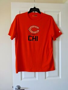 Chicago Bears mens Under Amour Combine Authentic NFL orange T shirt size Large